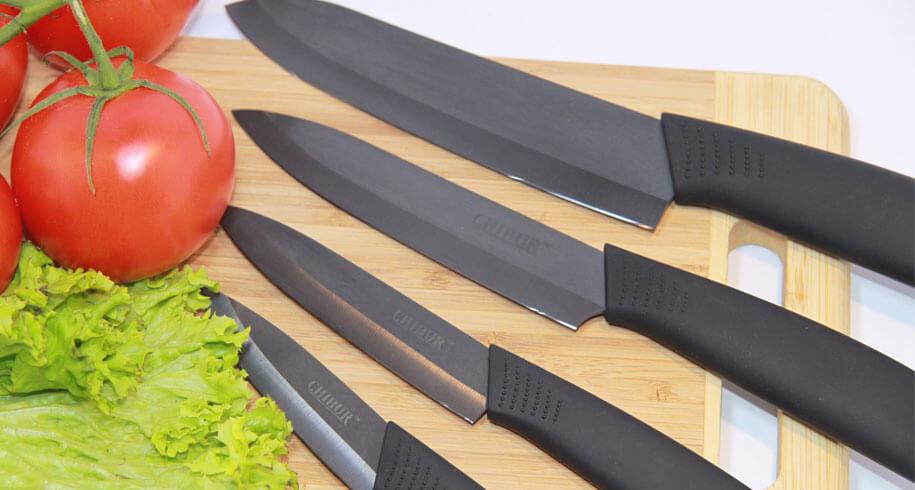 набор керамических ножей c черной лезвией CHIBUR