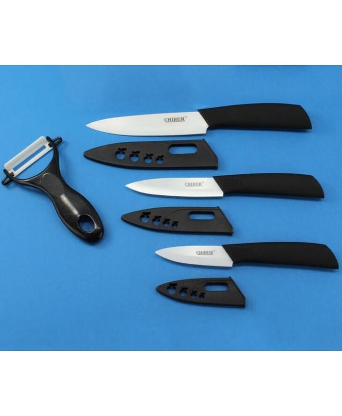 Три керамических ножа и овощечистка CHIBUR  (черный) (NK101-30-01)