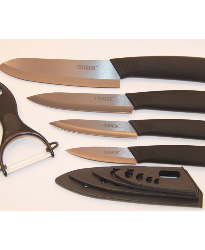 Набор керамических ножей с черной лезвией Chibur (черный) (NK102-00-01)
