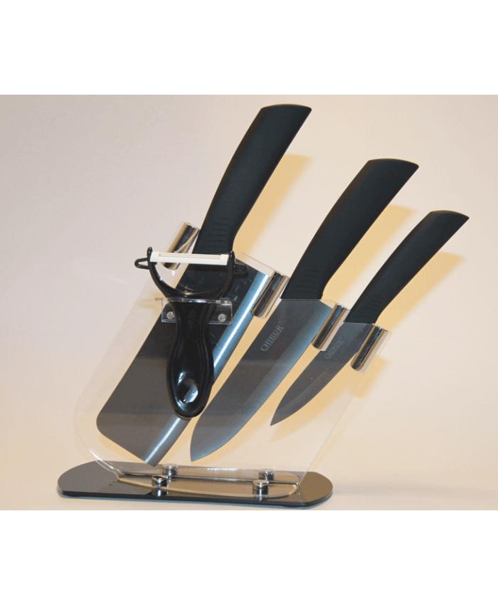 Набор кухонных керамических ножей CHIBUR (черный) (NK103-00-01)
