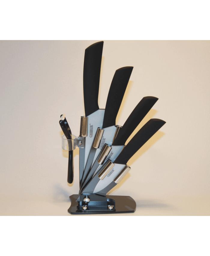 Набор керамических ножей с подставкой CHIBUR (черный с белой лезвией) (NK201-00-01)