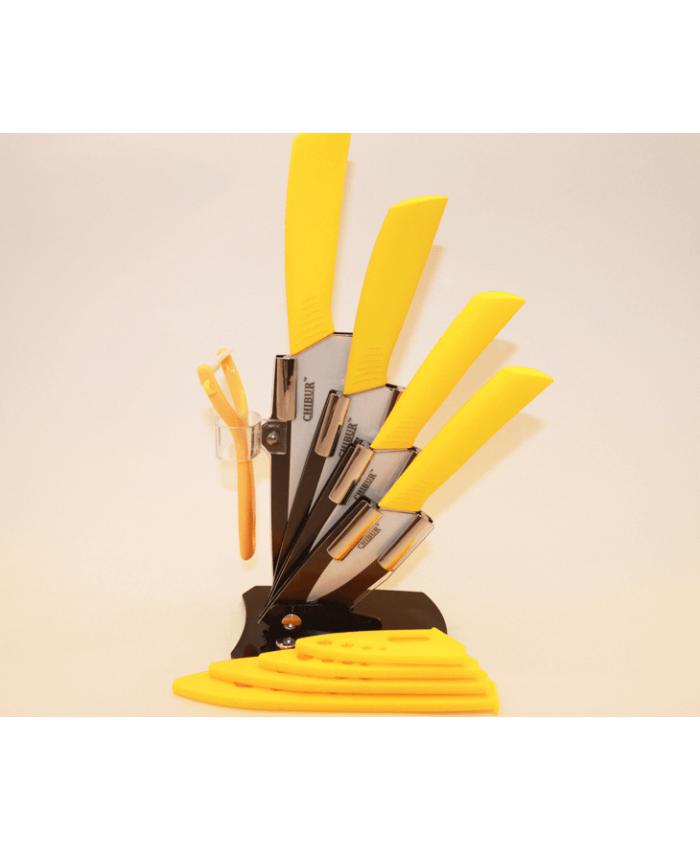 Набор керамических ножей с подставкой CHIBUR (желтый с белой лезвией) (NK201-00-06)