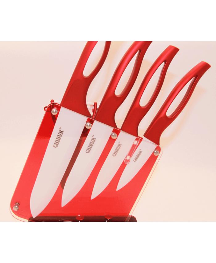 Набор керамических ножей с подставкой CHIBUR (красный с белой лезвией) (NK201-00-07)