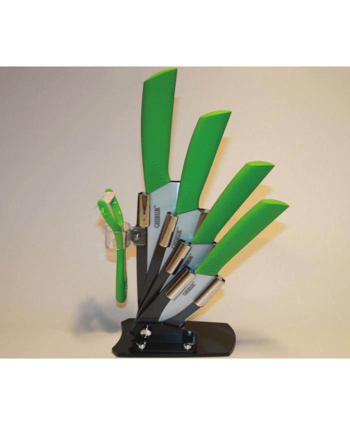 Набор керамических ножей с подставкой CHIBUR (зеленый с белой лезвией) (NK201-00-04)