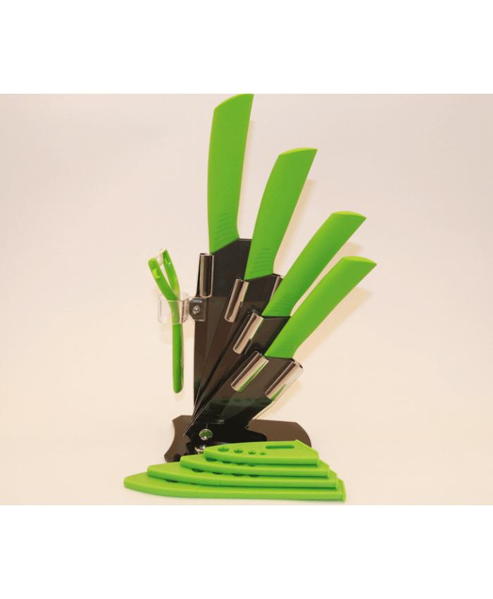 Набор керамических ножей с подставкой CHIBUR (зеленый с черной лезвией) (NK202-00-04)