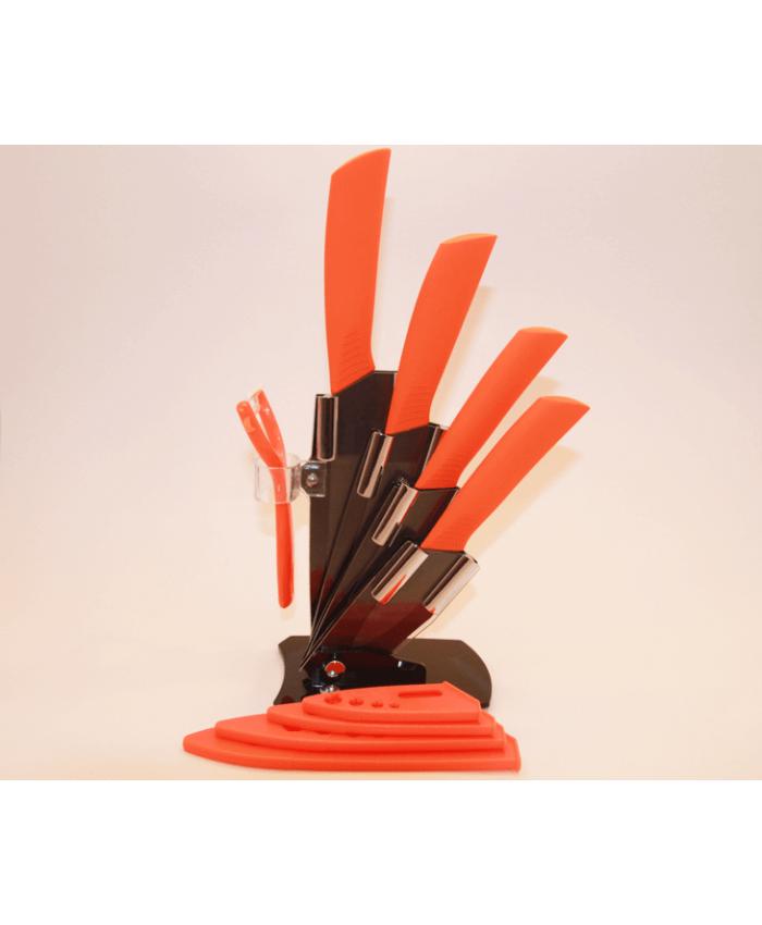 Набор керамических ножей с подставкой CHIBUR (оранжевый с черной лезвией) (NK202-00-05)